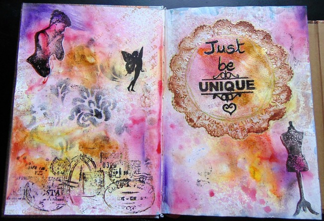 ellana scrap journal art be unique doré rose violet