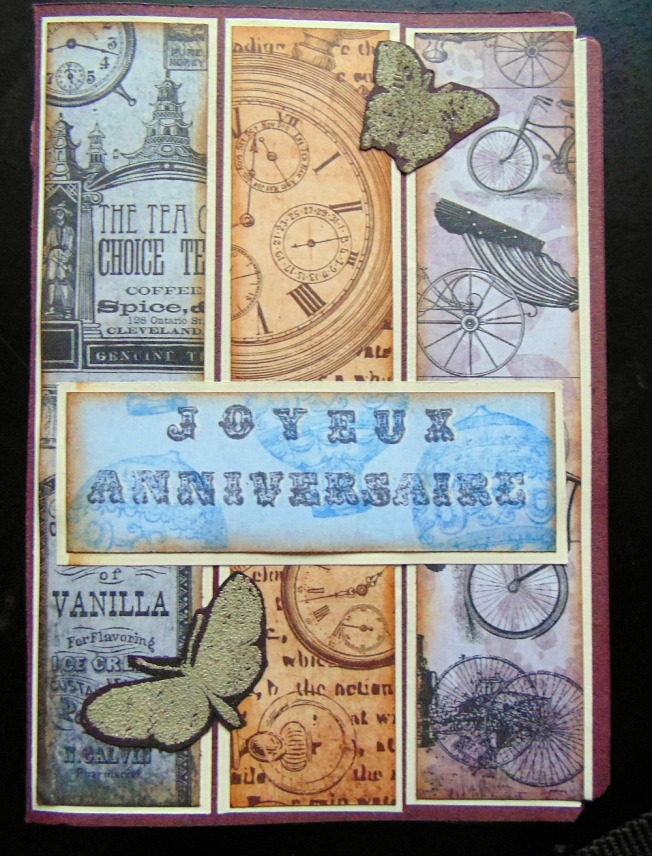 Carte anniversaire steam ellana scrap steampunk papillon ellanascrap