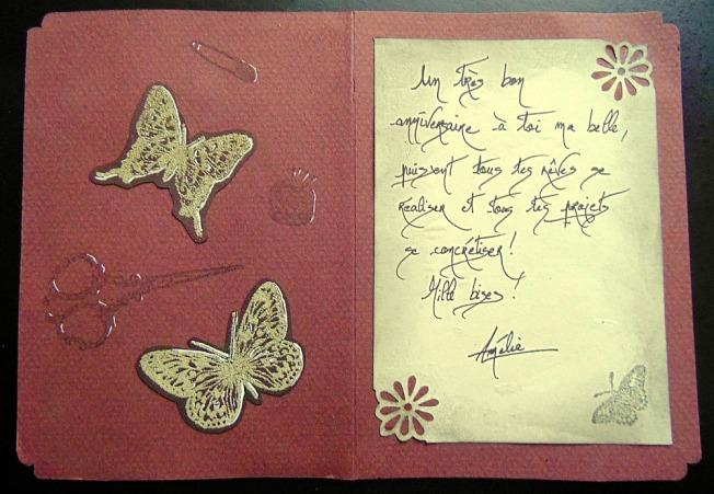 Carte anniversaire ellana scrap papillon couture ciseau épingle ellanascrap