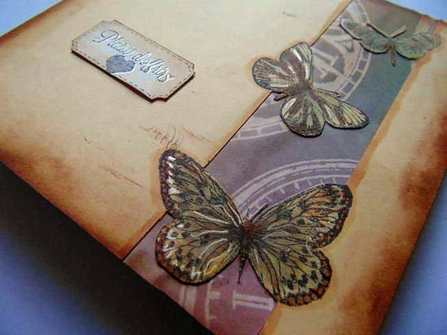 Carte doré papillon steam beige ellana scrap