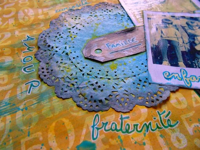 Challenge blog version scrap défi 3 ellana scrap jaune turquoise polaroid amour fraternité famille enfance