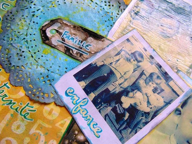 Challenge blog version scrap défi 3 ellana scrap jaune turquoise polaroid fraternité famille enfance