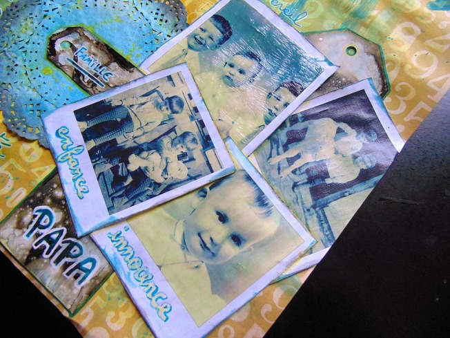 Challenge blog version scrap défi 3 ellana scrap jaune turquoise polaroid papa innocence famille enfance