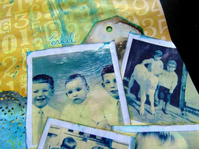 Challenge blog version scrap défi 3 ellana scrap jaune turquoise polaroid éveil ellanascrap