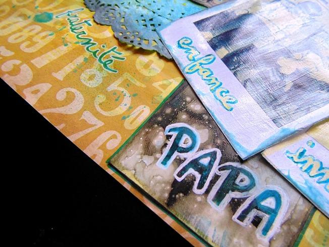 Challenge blog version scrap défi 3 ellana scrap jaune turquoise polaroid fraternité enfance papa innocence ellanascrap