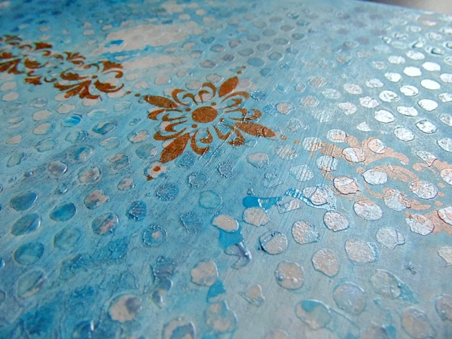 ellana scrap couverture album mixed-media mixed media bleu doré