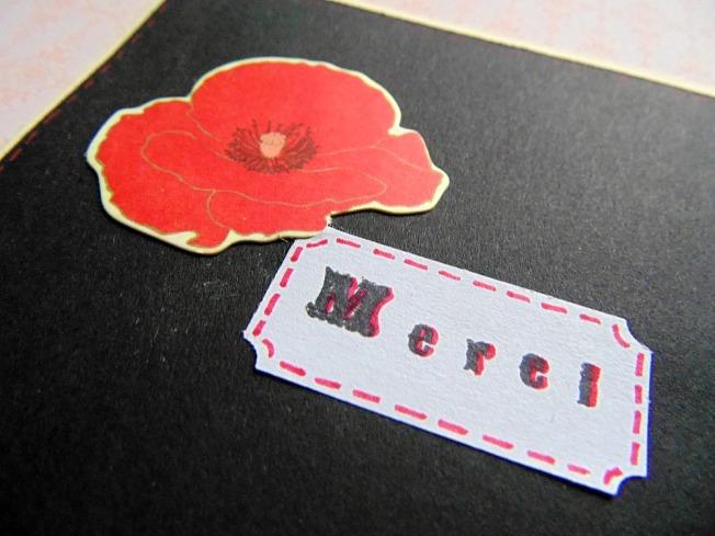 Carte remerciement coquelicot merci ellanascrap ellana scrap étiquette