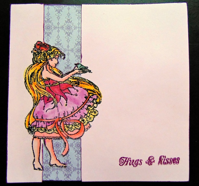 carte scrapberry's hugs & kisses ellanascrap ellana scrap rose violet rouge fille oiseau