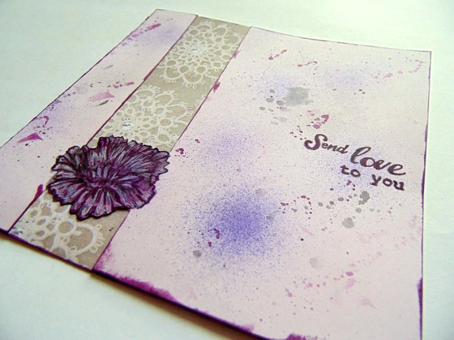 carte amitié amour violet rose mauve fleur tache ellanascrap ellana scrap scrapbooking carterie