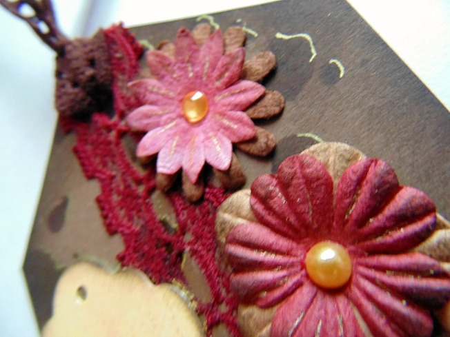 Tag remerciement marron doré ellana scrap ellanascrap vintage shabby fleurs strass perle