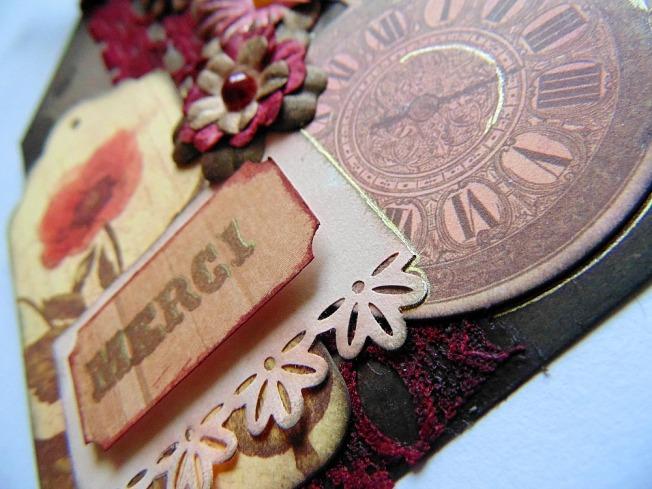 Tag remerciement marron doré ellana scrap ellanascrap vintage shabby fleurs montre à gousset dentelle