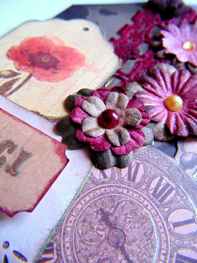Tag remerciement marron doré ellana scrap ellanascrap vintage shabby fleurs montre à gousset dentelle perle