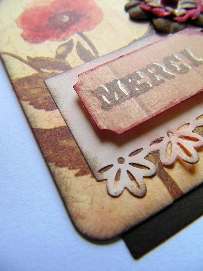 Tag remerciement marron doré ellana scrap ellanascrap vintage shabby fleurs