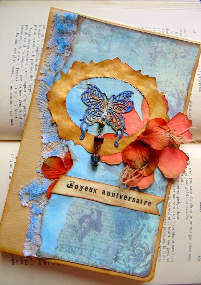 carte anniversaire papillon fleur bleu doré rouge perle cadre dentelle ellanascrap ellana scrap