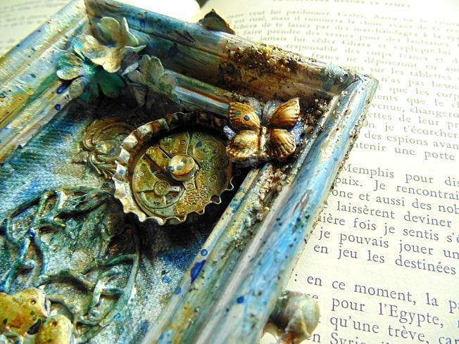 Springtime mixed media ellanascrap ellana scrap frame cadre bleu vert doré oiseau fleur