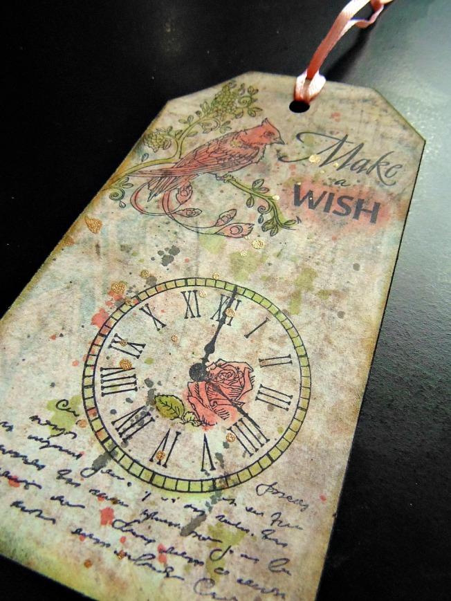 ellana scrap ellanascrap tag marque page horloge make a wish
