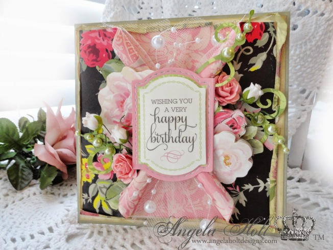 angela holt shabby carte card happy birthday anniversaire