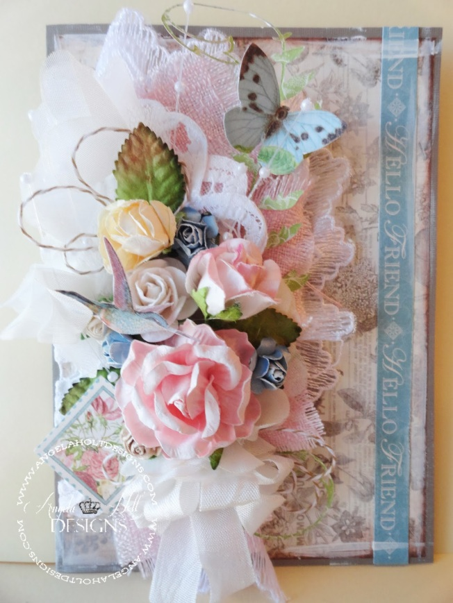 angela holt carte card fleur flower shabby