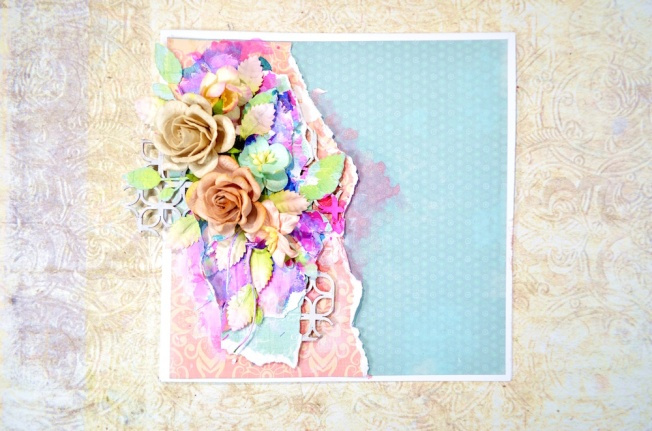 song li design card carte fleur flower blue bleu