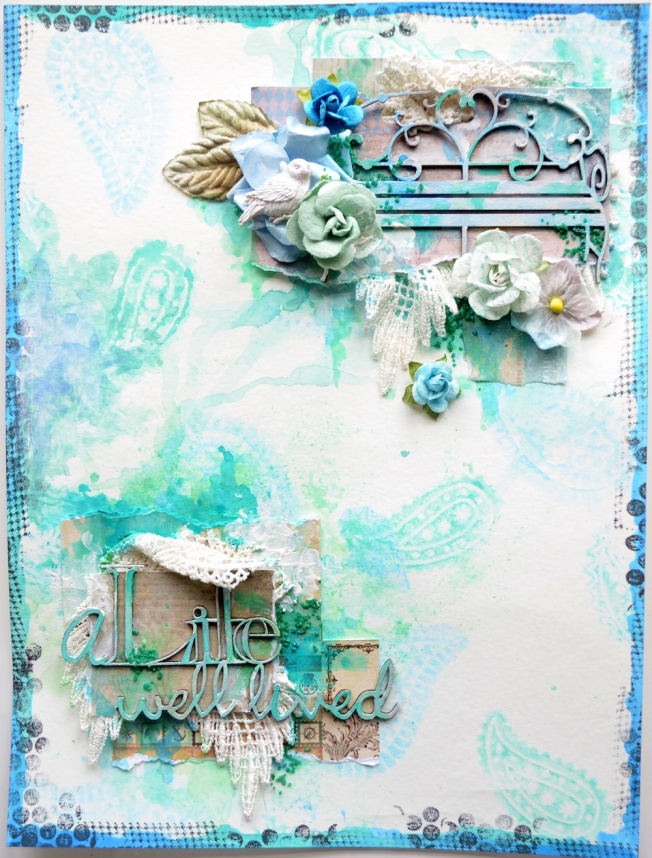 song li design layout page a life well loved bleu blue