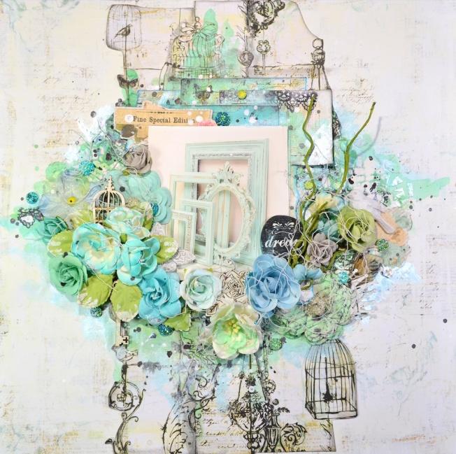 song li design canvas toile frame cadre bleu vert blue green