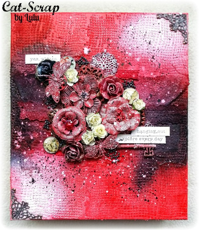 cat-scrap by lulu toile canvas rouge red hanging out explore every day mixed-media