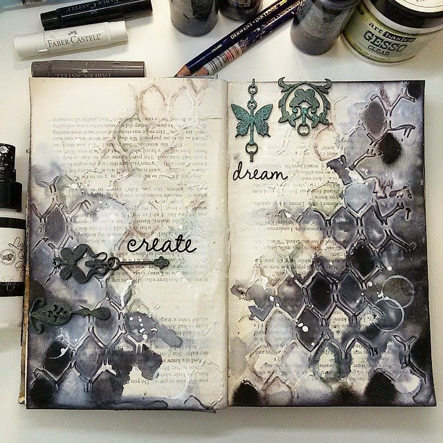 ellana scrap ellanascrap zoom sur marta lapowska maremi's small art journal art gesso create dream