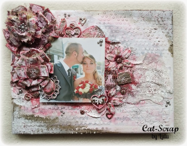 cat-scrap by lulu toile canvas mixed-media mariage