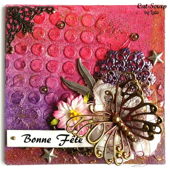 cat-scrap by lulu carte card bonne fête mixed-media mixed media