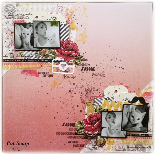 cat-scrap by lulu page layout rose chat pink cat j'adore souvenirs