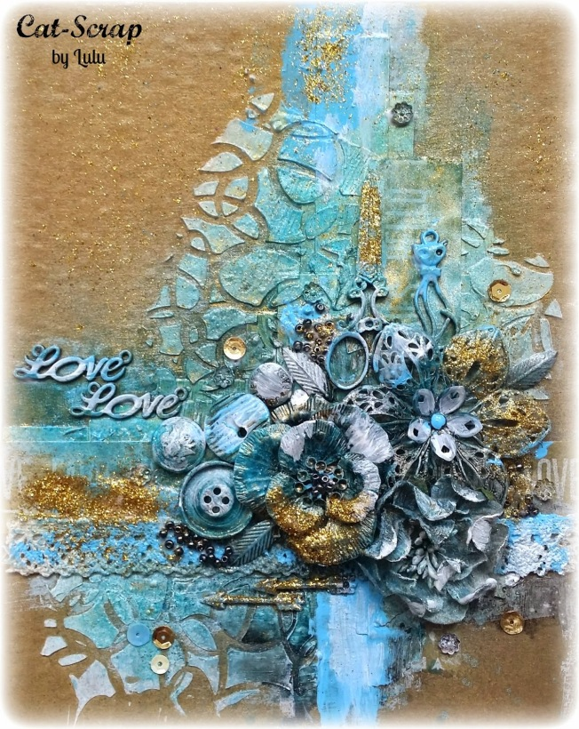 cat-scrap by lulu mixed media mixed-media canvas toile bleu doré blue gold love