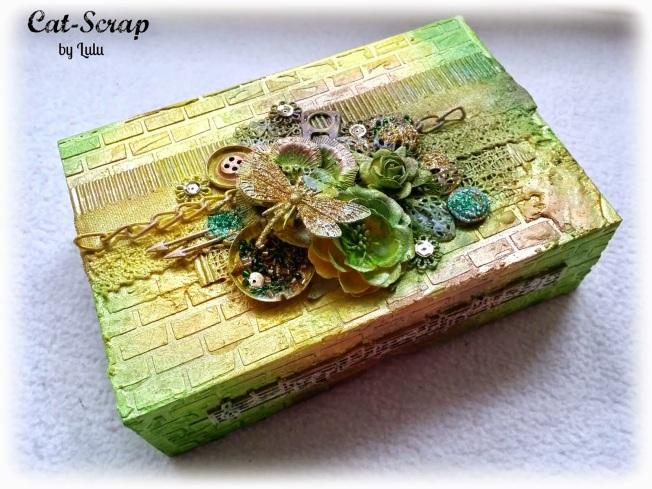 cat-scrap by lulu box boite mixed-media mixed media jaune vert yellow green customisation custom