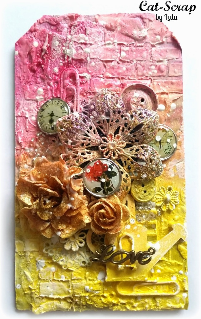cat-scrap by lulu tag mixed-media mixed media yellow pink jaune rose