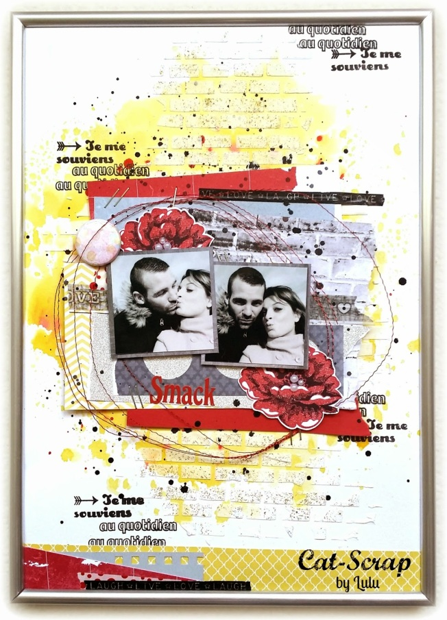 cat-scrap by lulu layout page smack je me souviens jaune rouge yellow red