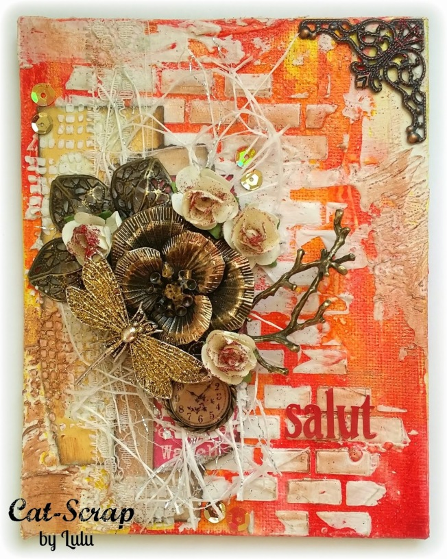 cat-scrap by lulu carte card mixed-media mixed media orange rouge red salut