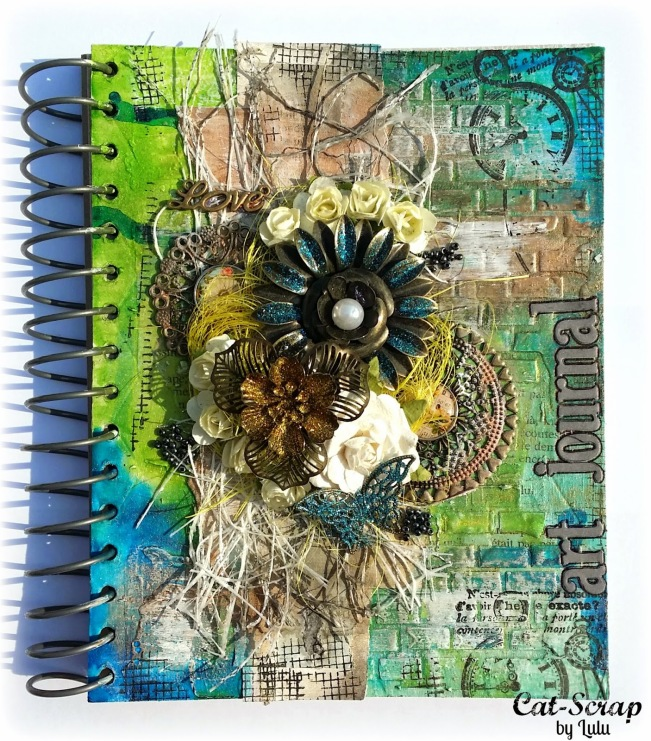 cat-scrap by lulu customisation custom carnet notebook courverture cover mixed-media mixed media blue green bleu vert