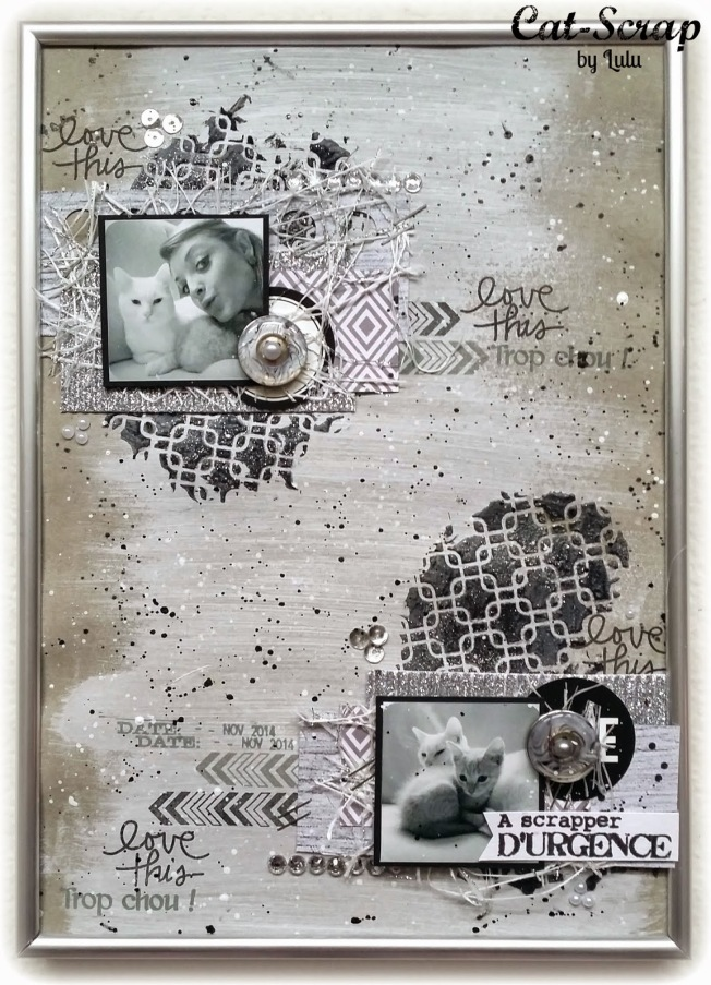 cat-scrap by lulu page layout grey gris love this cat chat a scrapper d'urgence