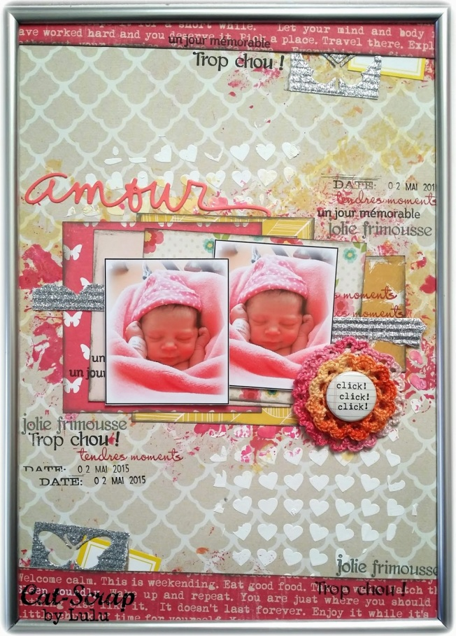 cat-scrap by lulu page layout amour rose bébé pink love baby