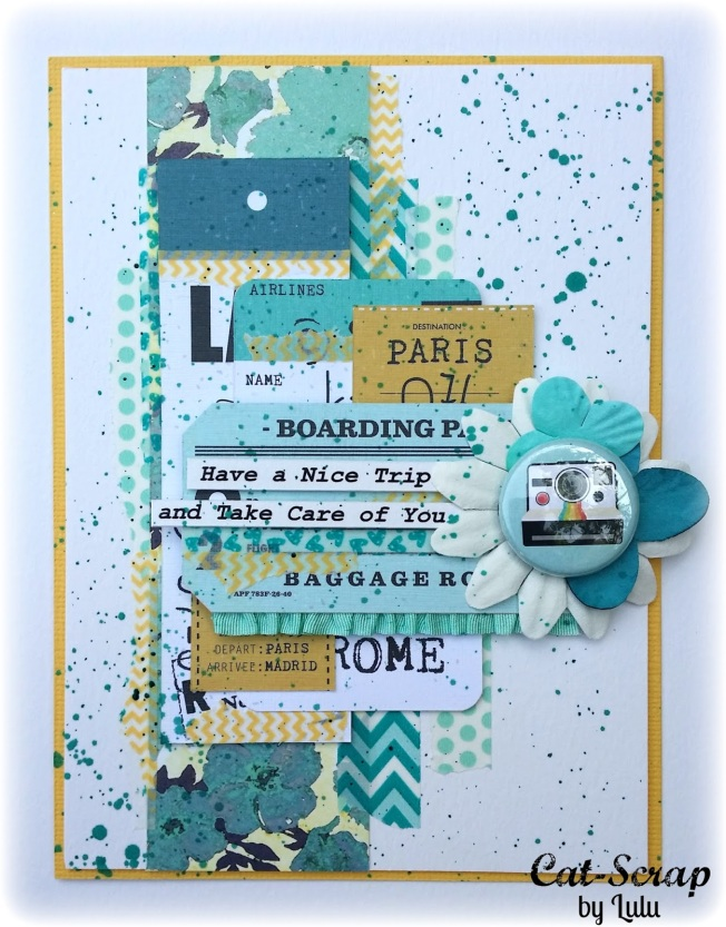 cat-scrap by lulu carte card voyage bleu paris boarding have a nice trip and take car of you rome