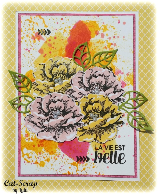 cat-scrap by lulu carte card la vie est belle fleur