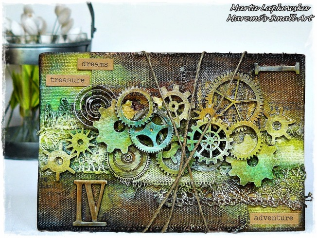 ellana scrap ellanascrap zoom sur marta lapowska maremi's small art canvas toile steampunk engrenage gear mixed media