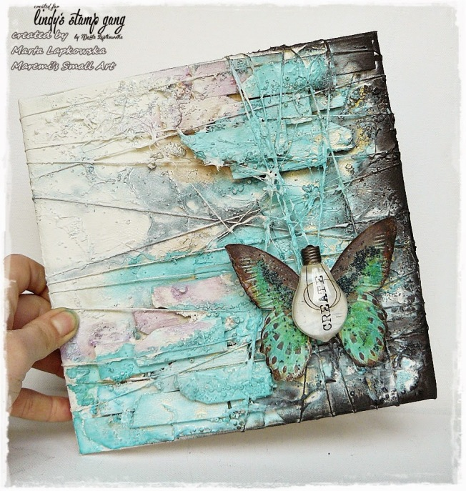 ellana scrap ellanascrap zoom sur marta lapowska maremi's small art mixed media canvas toile create buttefly papillon