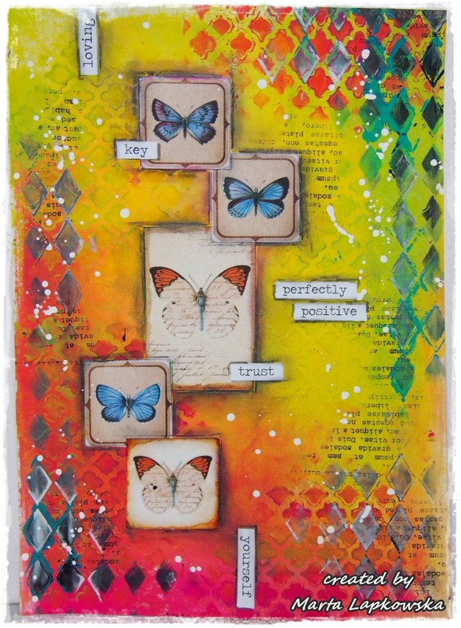 ellana scrap ellanascrap zoom sur marta lapowska maremi's small art toile canvas buttefly loving key perfectly positive trust yours