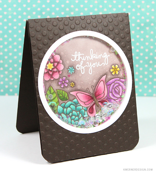 kristina werner design carte card shaker papillon butterfly thinking of you