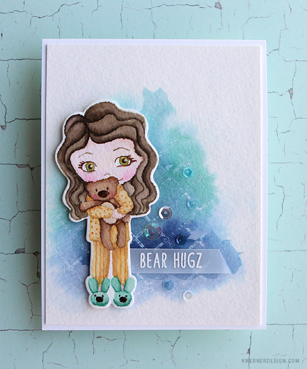 kristina werner design carte card hug calin nounours bear