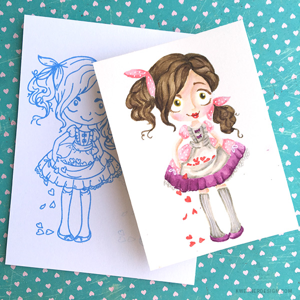 kristina werner design carte card poupée doll dollie