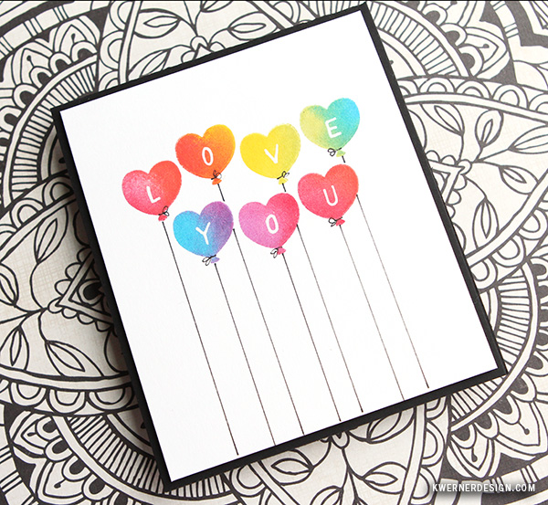 kristina werner design carte card love you je t'aime heart coeur ballon balloon