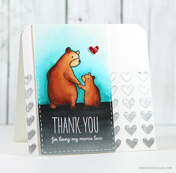 kristina werner design carte card thank you remerciement ours maman mama bear