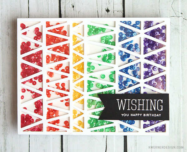 kristina werner design carte card rainbow shaker wishing you happy birthday anniversaire