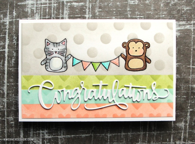 kristina werner design carte card congratulations félicitations chat cat singe monkey
